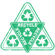 "Rubber stamp illustration showing ""RECYCLE"" text and symbol"