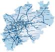 Bundesland Nordrhein-Westfalen mit Autobahnen