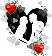 Innamorati e cuori controluce