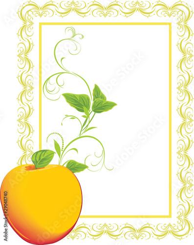 Yellow apple with sprig in the decorative frame. Vector