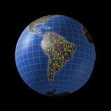 South American economies in stock market tickers on globe poster