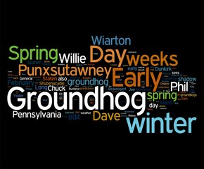 Ground Hog Day tags on black background