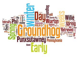 Groundhog Day tags on white background