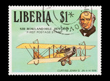 Liberian mail stamp featuring postal pioneer Sir Rowland Hill poster