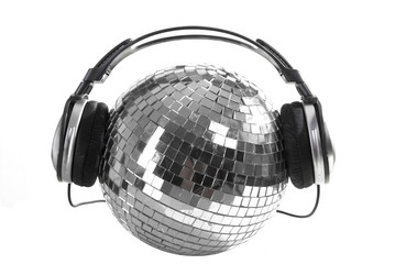 Shiny disco ball with dj headphones