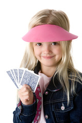 Cute little girl holding cards smilling