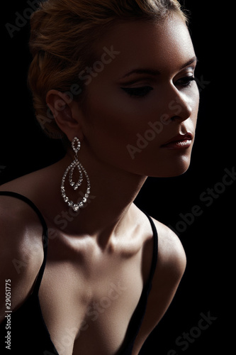 Luxury woman model, fashion chic jewelry, neckline