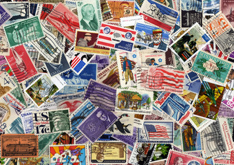 USA postage stamp collection background