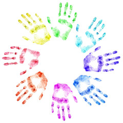 Color print of human hands