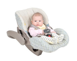 Baby in child car seat isolated over white background