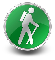 "Green Glossy Icon ""Hiking"""