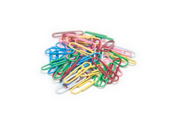 Group of Multi-color paper clips on white