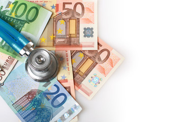 Stethoscope and euro money.