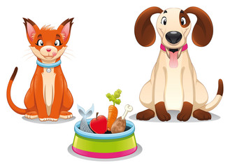 Cat and Dog with food.Vector scene, isolated objects.