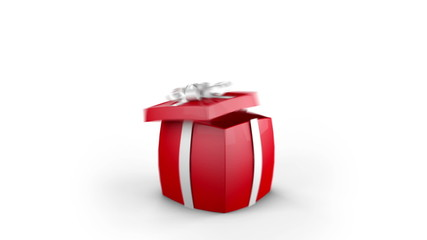 Gift Box Opens and hearts fly. Alpha channel is included