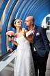 Bride and groom in blue interior
