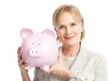 Woman with a pig bank