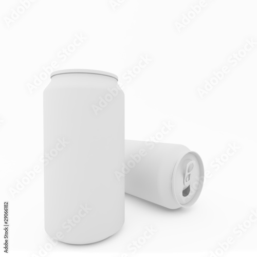 the blank beer can on white