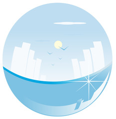 vector illustration sea and city