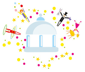 vector circus on ball background