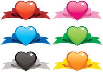 Collection of vector illustrations of hearts on ribbons.
