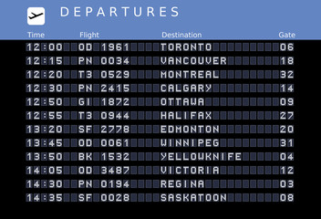 Canada destinations - departure board
