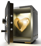 Opened safe with gold heart 3D render