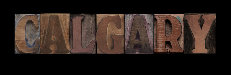the word Calgary in old letterpress wood type