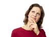 white female thinking in distrust