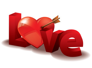 Love with 3d letters and heart
