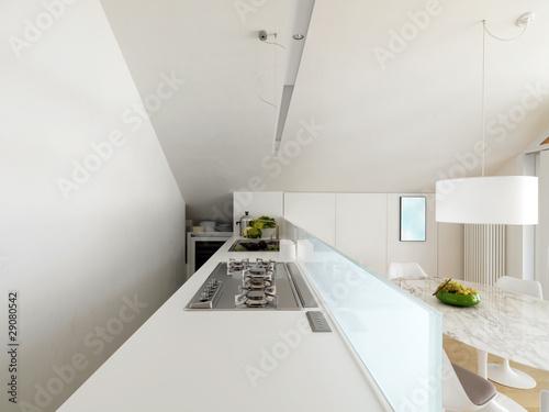 moderna cucina bianca in mansarda by adpePhoto, Royalty ...