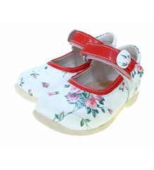 Child's red leather shoes with roses pattern