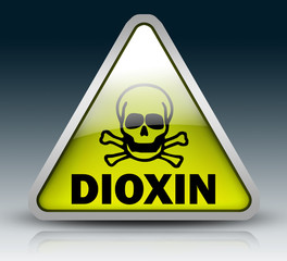 "Glossy 3D Style Sign ""Warning - Dioxin"""