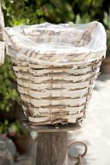 wooden basket outdoor closeup
