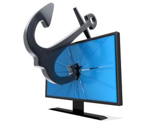 anchor inside the flatscreen monitor