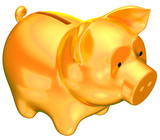 Wealth: Golden piggy bank isolated poster