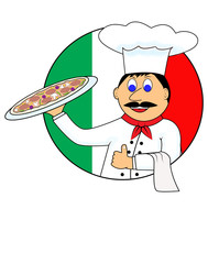 cartoon pizza and cook