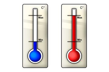 Icone termometri su bianco