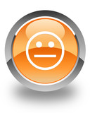 Normal face icon on orange button poster