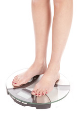 Womans feet scales angle
