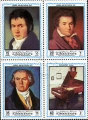 Beethoven, 1770 1827. Timbres postaux.
