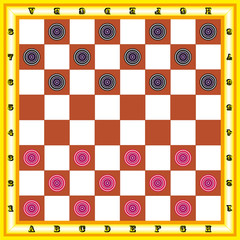 The image of chessboard with black and red checkers