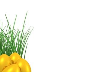 Gold-Ostereier mit Grasbüschel