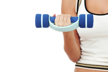 dumbbells in woman hands