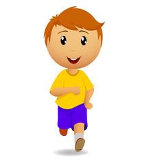 Running man in yellow t-shirt