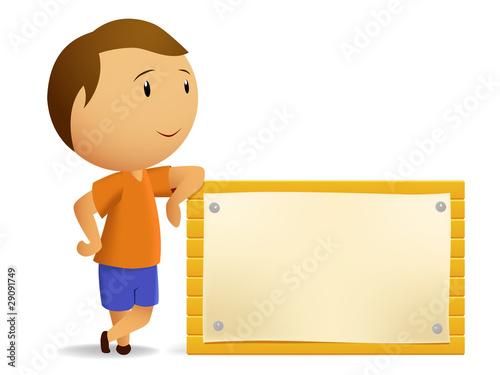 Boy resting with Blank wooden billboard
