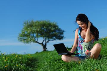 laptop work in field