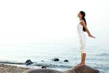 Fototapety meditation on sand beach