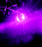 purple shining discoball / mirrorball in motion poster