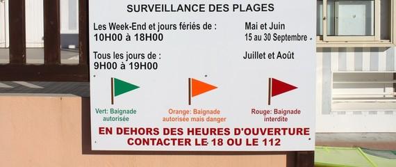 Pancarte de surveillance des plages